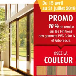 Promo 10 % de remise sur les Finitions des gammes PVC Color & Sens
